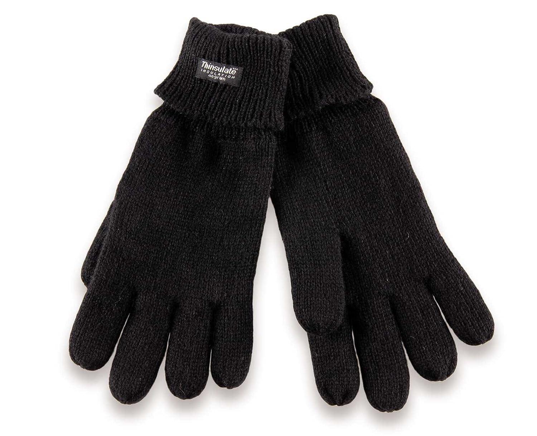 H-COM-1 gestrickte Thinsulate Handschuhe mit Fleecefutter - Fingerhandschuhe für Damen und Herren S M L XL schwarz grau