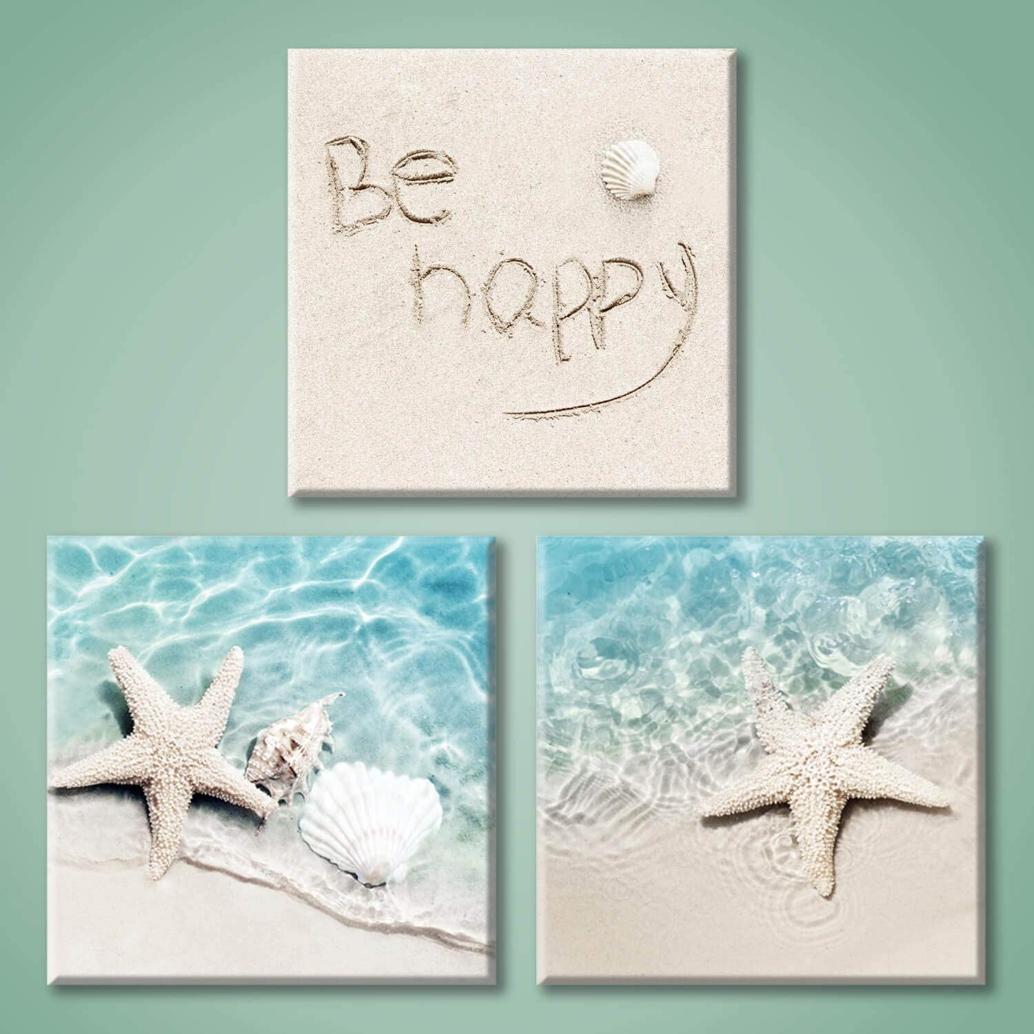 Beach Starfish Canvas Wall Art: Starfish and Conch in The Teal Sea Water Picture Prints on Canvas for Bathroom (12'' x 12'' x 3 Panels)
