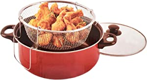 Deep Fryer 3pc Set With 4.5 Quart Non-Stick Ceramic Coated Dutch Oven Style Pot, Stainless Steel Fryer Basket & Glass Lid - Cool Touch Handle
