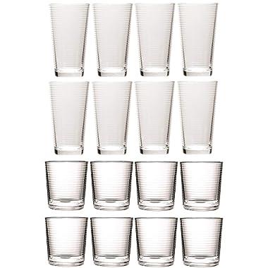 Circleware 40168 Hoop Huge Set of 12Drinking Glasses & Whiskey Cups Glassware for Water, Beer, Juice, Ice Tea, Bar Beverage, 6-15.7 oz & 6-12.5 oz, 12pc