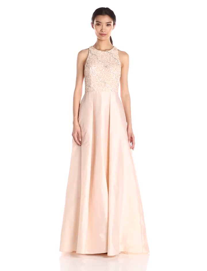 Amazon.com: Adrianna Papell Women\'s Halter Gown with Taffeta Skirt ...