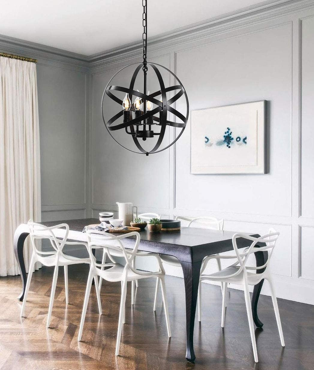 Z-LIGHT Chandeliers Farmhouse Rustic Industrial Pendant Lighting Fixture with Metal Spherical Shade Black Chandelier for Dining Room, Kitchen Island, Foyer