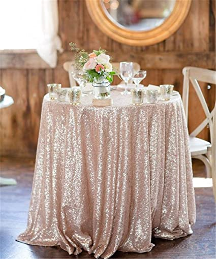 9158fd2f8414 Image Unavailable. Image not available for. Color  QueenDream 132 quot  Round  Glitz Sequin TableCloths champagne Banquet ...