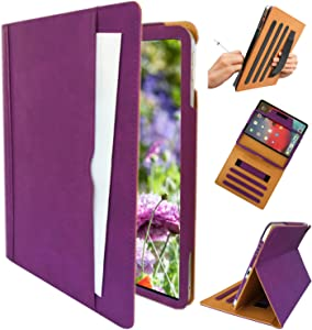 ipad 9.7 pro A1673 case, iPad Pro A1674 Cover, ipad Handle Hand Strap Stand Folio Case Case with Sleep/Wake Function for 2016 Released 9.7 Inch iPad Pro (Purple)