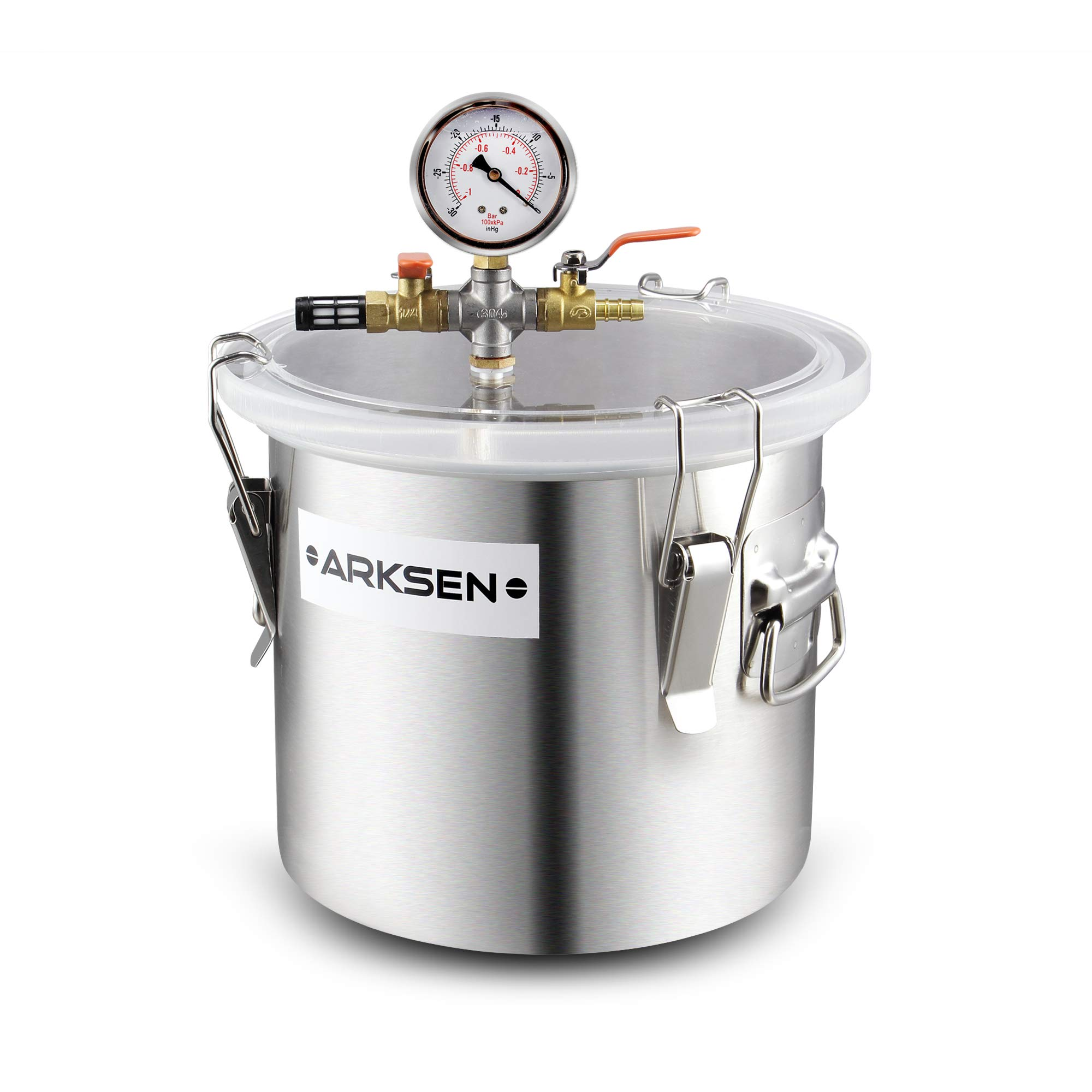 Arksen 2 Gallon Vacuum Chamber Stainless Steel Degassing Urethanes Resins Silicone Epoxies Lid Kit w/ 50 Micron Air Filter