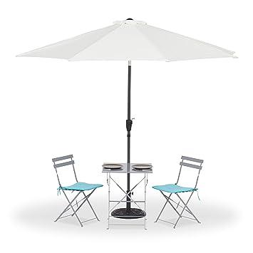 Amazon De Relaxdays Sonnenschirm Knickbar 2 Teiliger Mast Uv