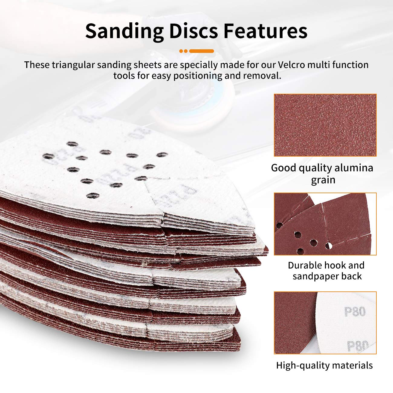 Aluminum Oxide with 12 Holes 10 Pcs of Each Grit Dyna-Living 50 Pcs Triangle Sanding Pads for Multitool 60//80//120//150//220 Grit Adhesive Sander