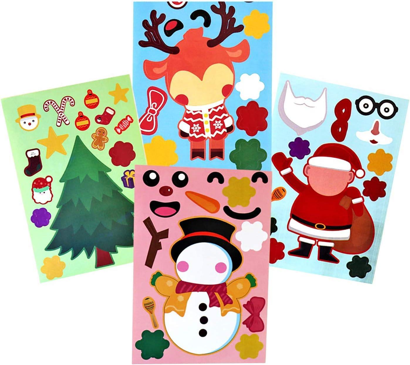 Funnlot Christmas Stickers for Kids /24 PCS Christmas Party Games for Kids Make Your Own Christmas Stickers Face Stickers Snowman Santa Gingerbread Reindeer Face Stickers
