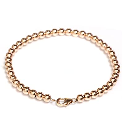 amazon com beaded bracelet 14k solid yellow gold with lobster clasp