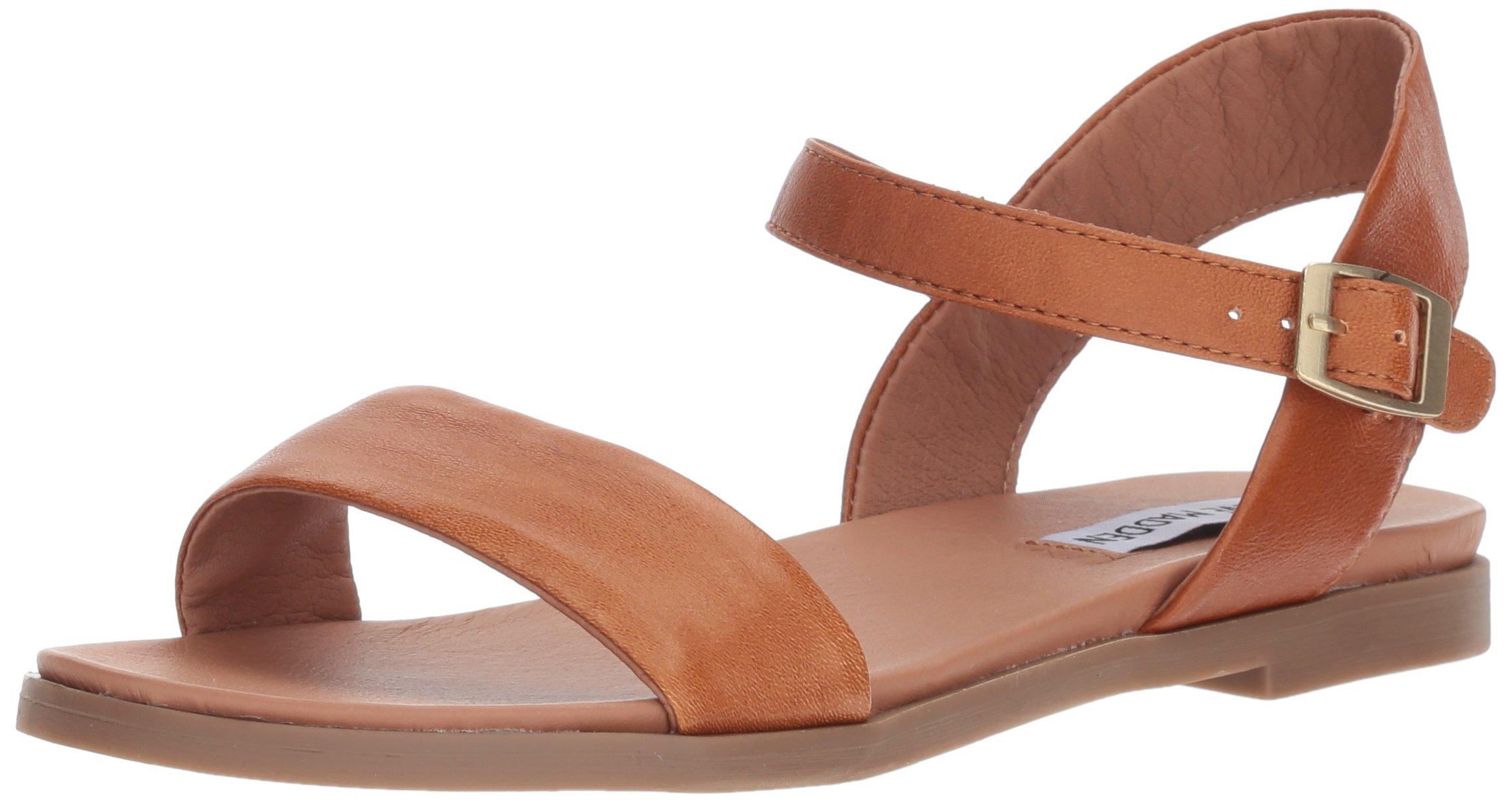 Steve Madden Women's DINA Flat Sandal, tan Leather, 8 M US by Steve Madden