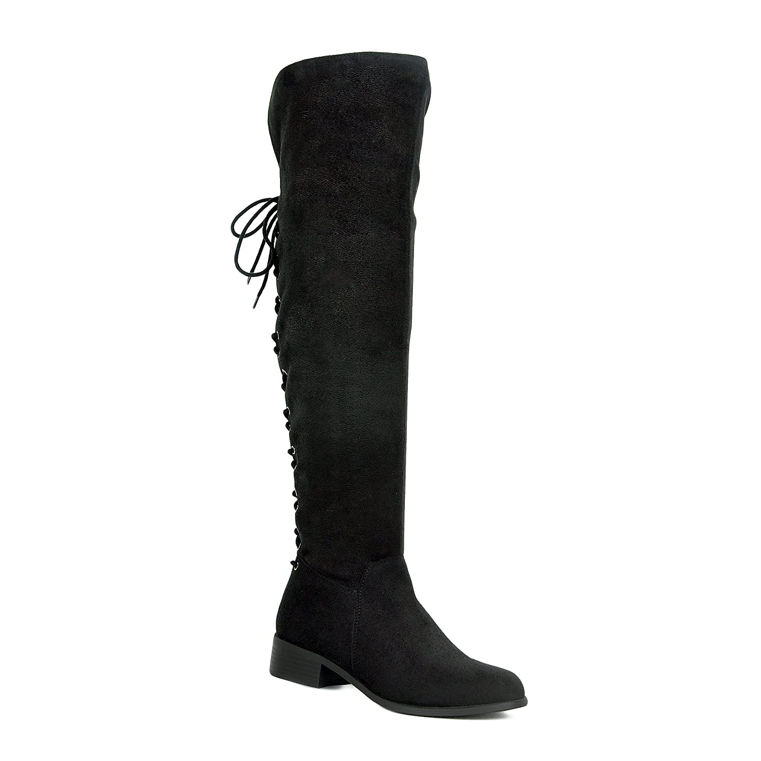 Women's Black Faux Suede Over the Knee Back Corset Lace-up Fold Over Cuff Flat Heel Boots - DeluxeAdultCostumes.com