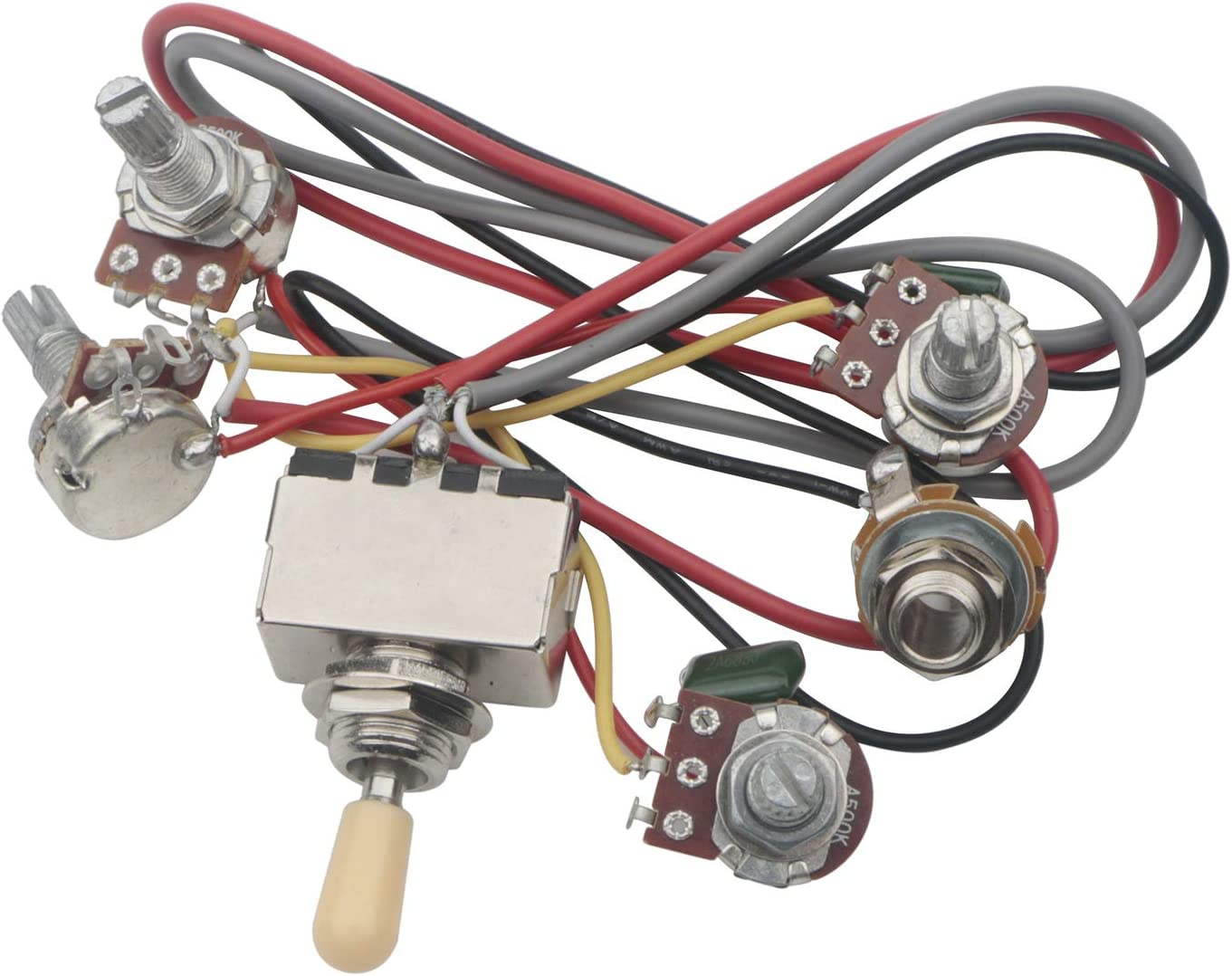 Amazon.com: Guitar Wiring Harness Prewired 2 Volumes 2 Tones 4-500k Pots  for LP Guitar: Musical Instruments   Bass Wiring Diagram 2 Volume 2 Tone      Amazon.com