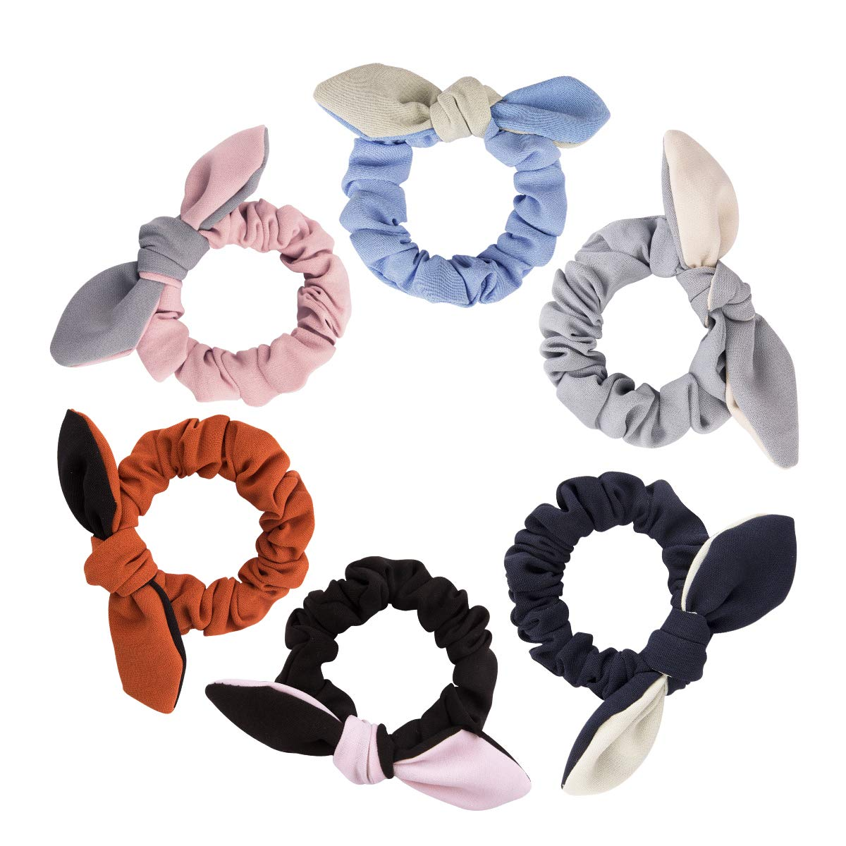 Amazon.com   Ondder 6 Pack Hair Scrunchies Rabbit Bunny Ear Bow Bowknot  Scrunchies Scrunchy Bobbles Elastic Hair Ties Bands Ponytail Holder abd4981d496