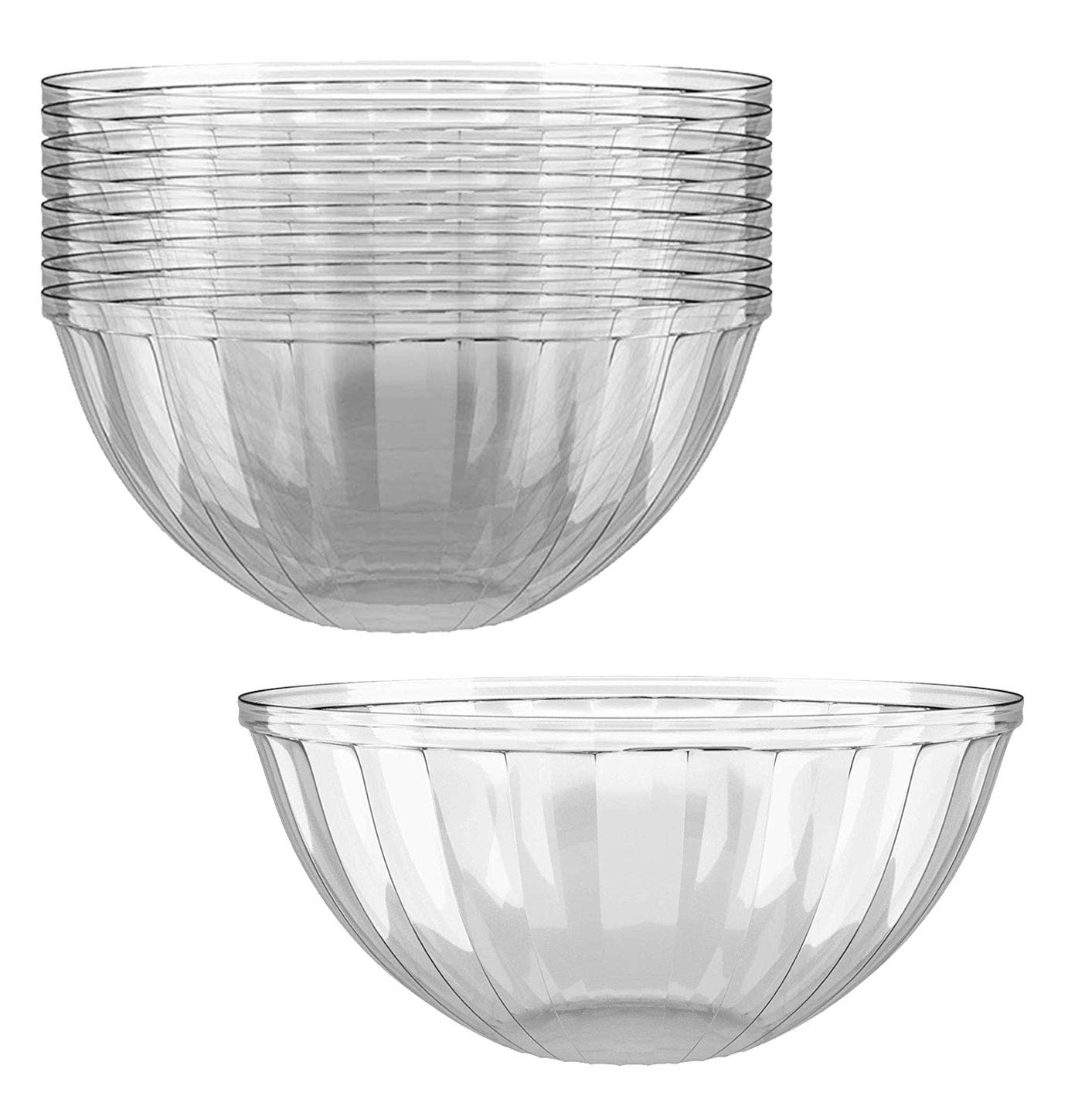 Clear Plastic Serving Bowls for Parties | 48 Oz. 12 Pack | Round Disposable Serving Bowls | Clear Chip Bowls | Party Snack Bowls | Plastic Candy Dish | Salad Serving Containers | Large Candy Bowls