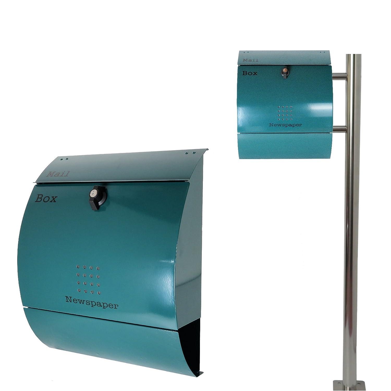 郵便ポスト郵便受けおしゃれ大型鍵付スタンド型プレミアムステンレスグリーン 緑色ポストpm281s-pm039 B07DRFMCGF 19880