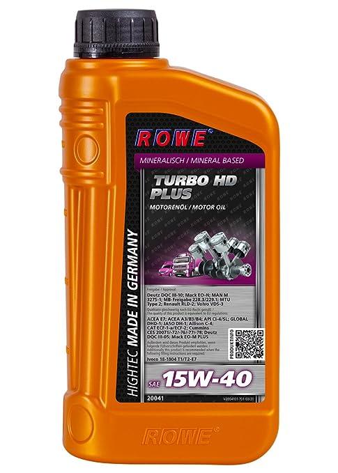 ROWE HighTec Turbo HD SAE 15 W de 40 Plus, ...