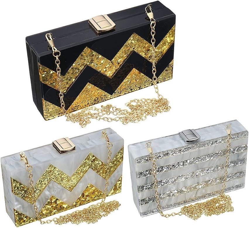 41fab126e8 Women Acrylic Silver and Gold Box Clutch Purse Striped Evening Crossbody  Bags