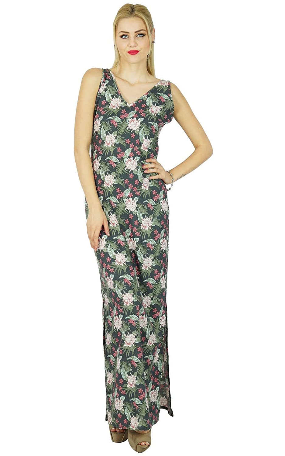 Bimba Women Long Printed Maxi Dress Sleeveless Comed With Side Slit Casual Clothing