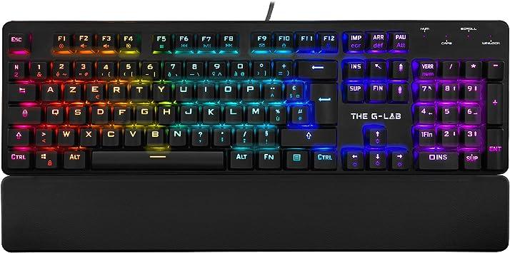 THE G-LAB Keyz Rubidium Teclado Mecánico Gaming – Alto Rendimiento – Teclado Mecánico Red Switch – Retroiluminación RGB, Anti-ghosting, ReposaMuñecas ...