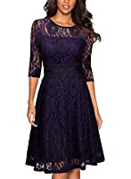 Miusol Women's Vintage Floral Lace 2/3 Sleeve Cocktail Evening Party Dress