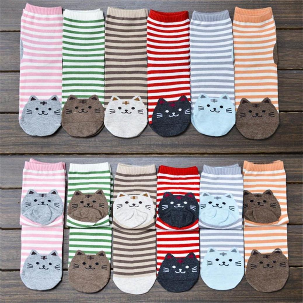 Creazy 6pair Animals Striped Cartoon Socks Women Cat Footprints Cotton Socks Floor