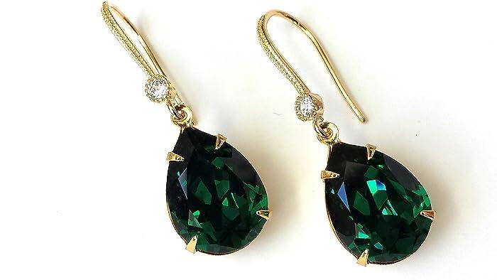 d0338b444b102 Amazon.com: Emerald Drop Earrings Vintage Swarovski Crystal Green ...