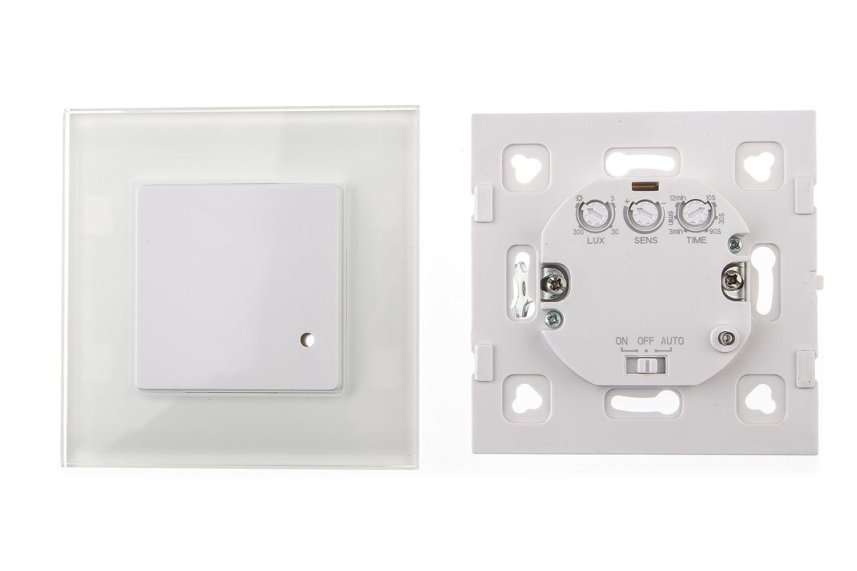 Bianco 0.90 W da incasso HUBER Motion Rilevatore di movimento a 180//° a basso consumo energetico Bianco 230.00 voltsV da incasso