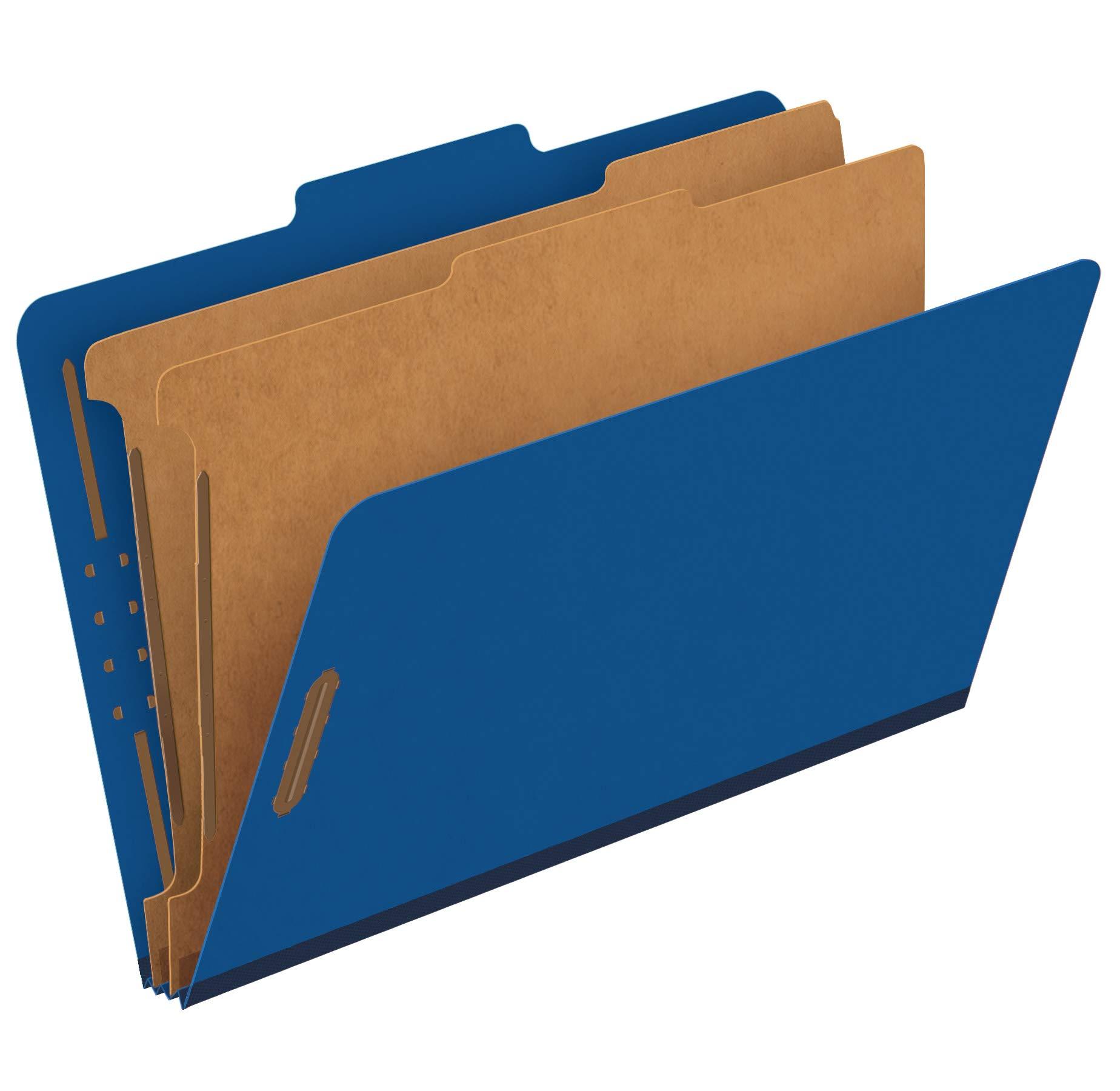 Pendaflex Recycled Classification File Folders, 2 Dividers, 2'' Embedded Fasteners, 2/5 Tab Cut, Legal Size, Dark Blue, Box of 10 (29035GW) by Pendaflex