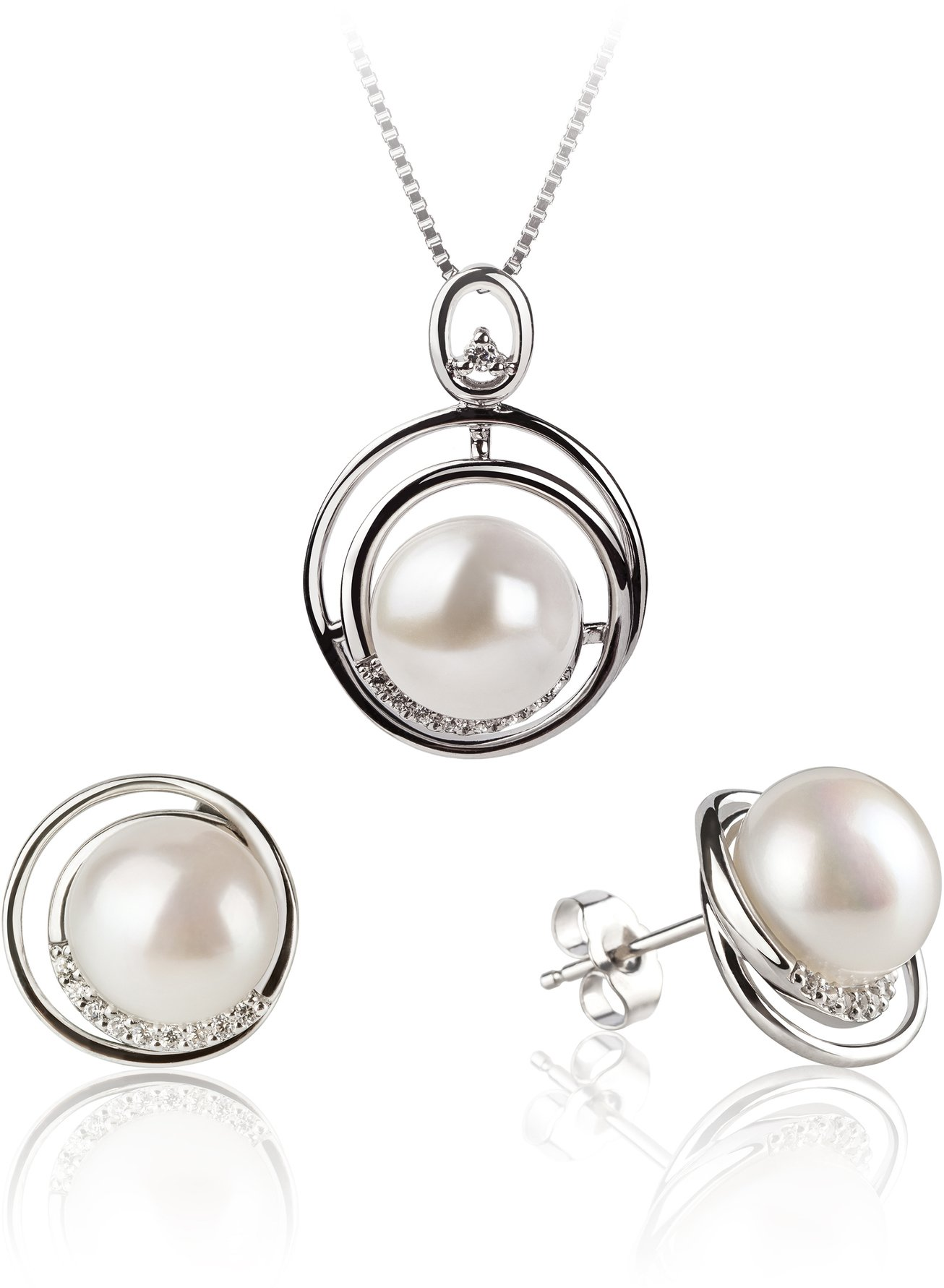 PearlsOnly - Kelly White 9-10mm AA Quality Freshwater 925 Sterling Silver Cultured Pearl Set