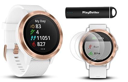 2d5979d40 Garmin vivoactive 3 (White & Rose Gold) Fitness GPS Watch Power Bundle |  with
