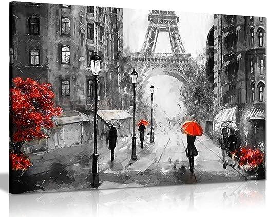 "HD Print Oil Painting Home Decor Art on Canvas Eiffel Tower Red Umbrella 24/""x36/"""