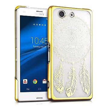 kwmobile Funda para Sony Xperia Z3 Compact - Carcasa de [plástico] para móvil - Protector [Trasero] en [Dorado/Transparente]