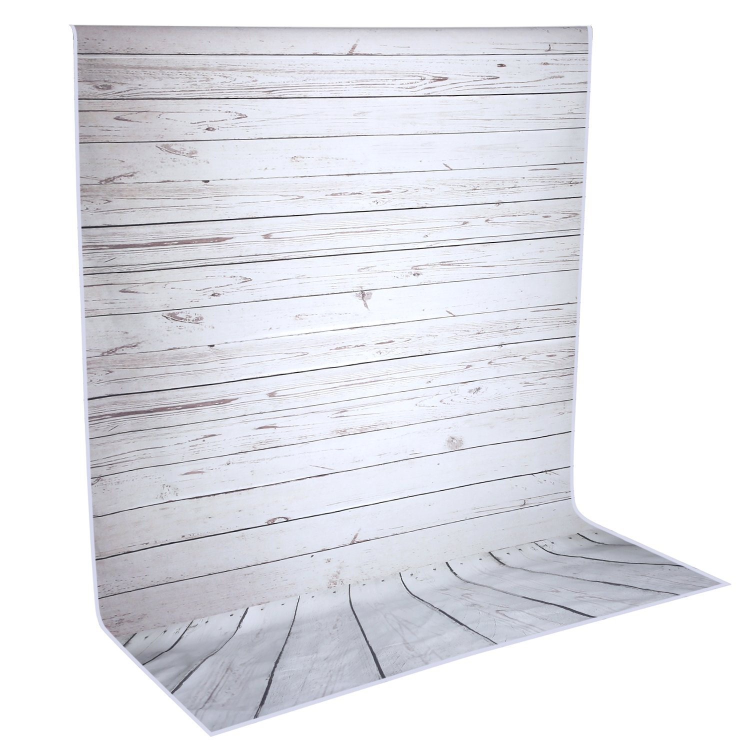 Neewer 5x7ft/152x213cm Light Grey 100% Polyester Wooden Backdrop Background for Photography Studio Video Shooting (Backdrop Only!)