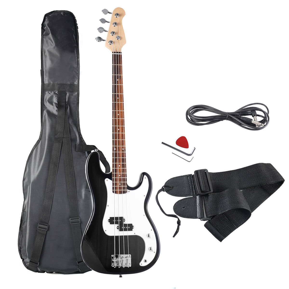 Goplus Electric Bass Guitar Full Size 4 String with Strap Guitar Bag Amp Cord (Black)
