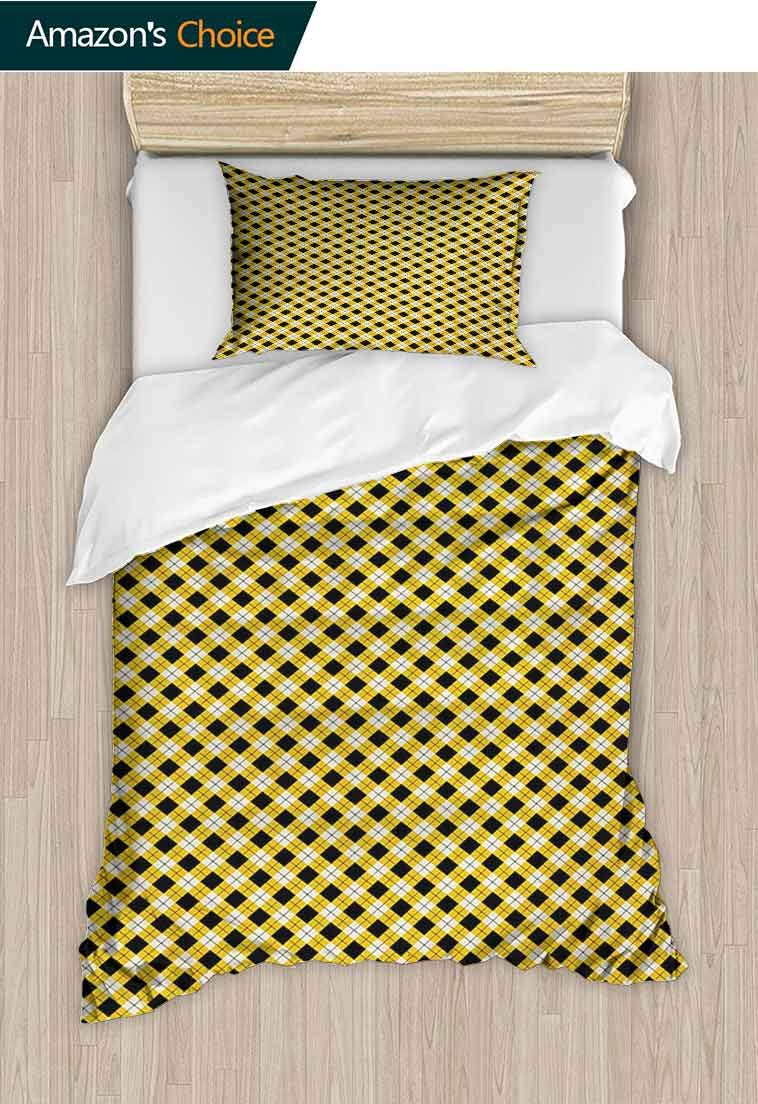 Geometric Custom Made Quilt Cover and Pillowcase Set, Argyle Pattern with Rhombuses and Dotted Lines Grid Plaid Design, Reversible Coverlet, Bedspread, Gifts for Girls Women, 79 W x 90 L Inches