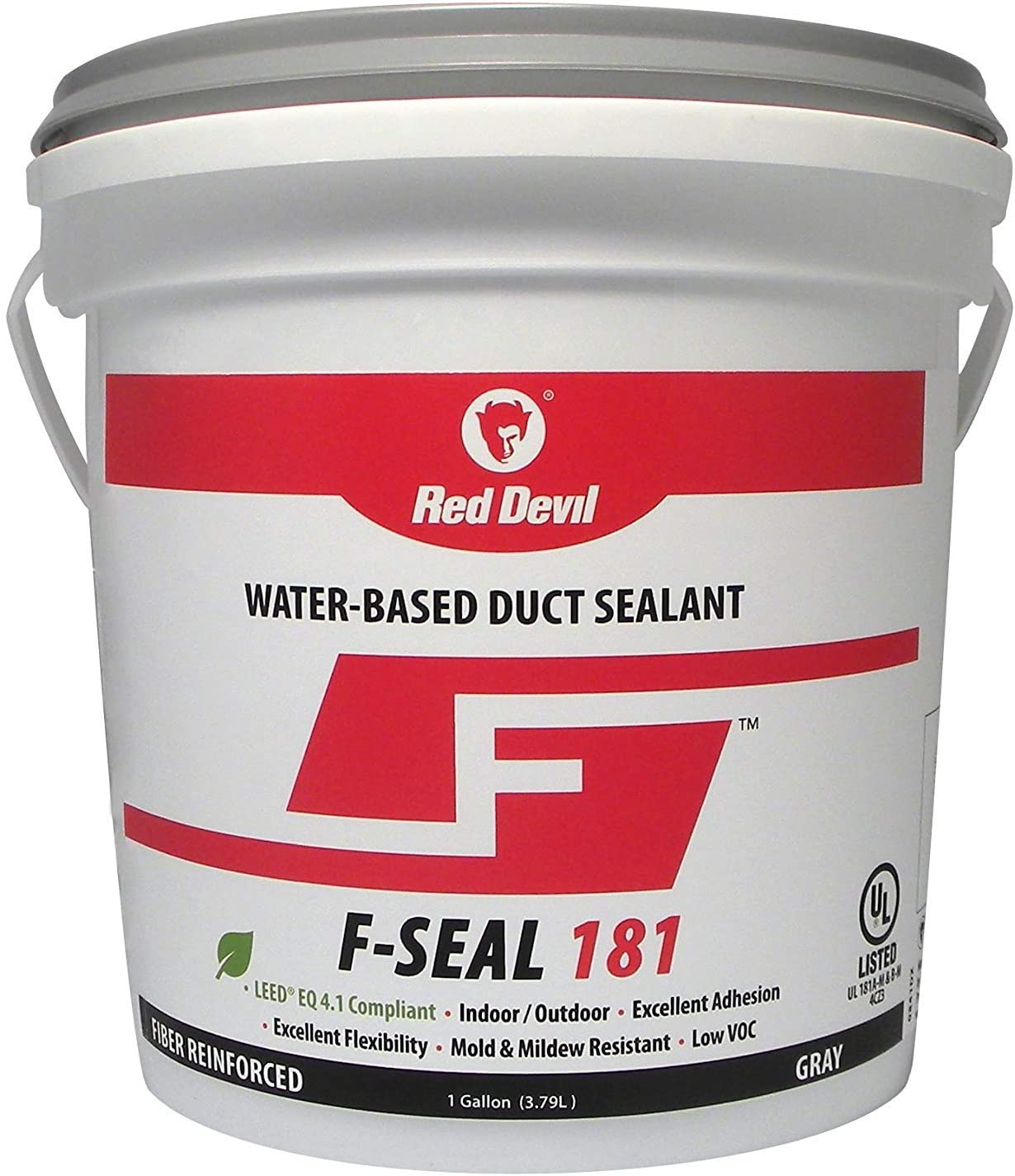 Red Devil 0841DX F Seal 181 Water Based Duct Sealant, 1 Gallon, Gray