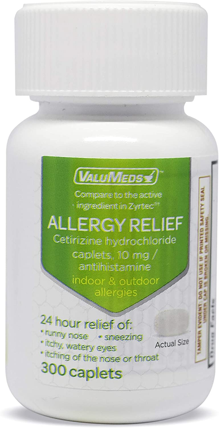 ValuMeds 24-Hour Allergy Medicine (300-Count) Antihistamine for Pollen, Hay Fever, Dry, Itchy Eyes, Allergies   Cetirizine HCl 10mg Caplets: Health & Personal Care
