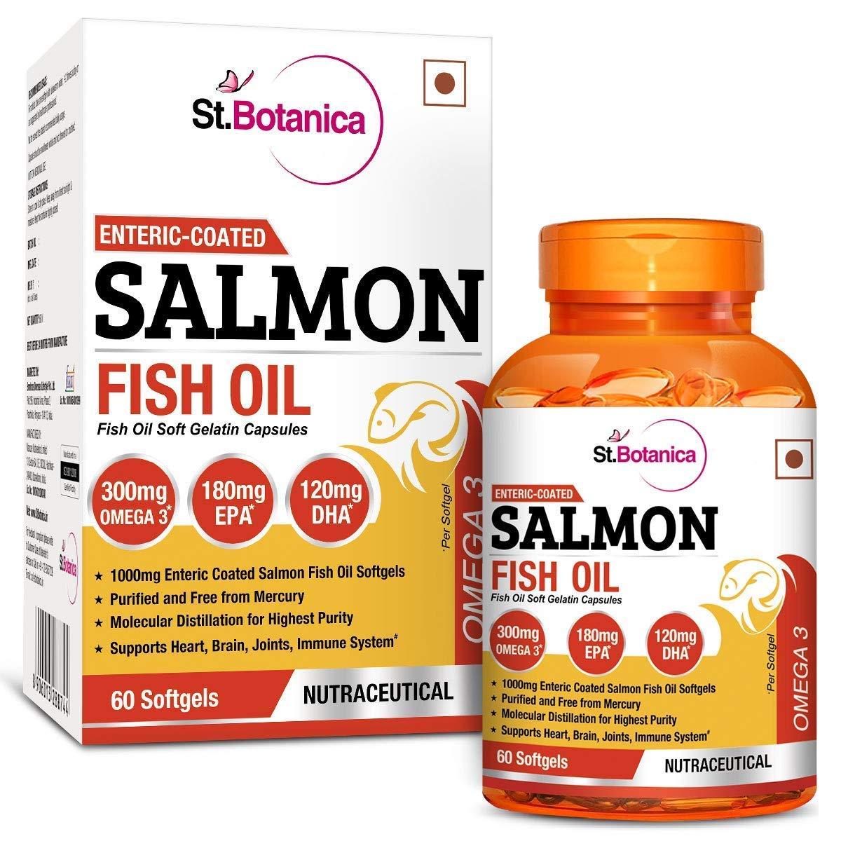 StBotanica Salmon Fish Oil Omega-3 1000mg, 180mg EPA, 120mg DHA - 60 Enteric Coated Softgels product image