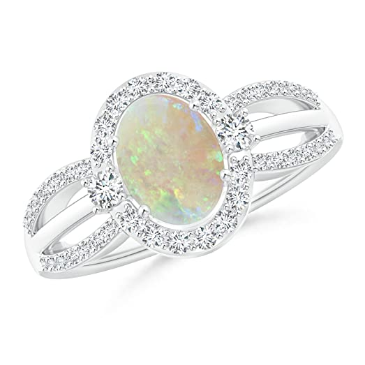 Angara Floating Diamond Halo Cabochon Opal Cathedral Ring in Rose Gold Q5qUIkeVi