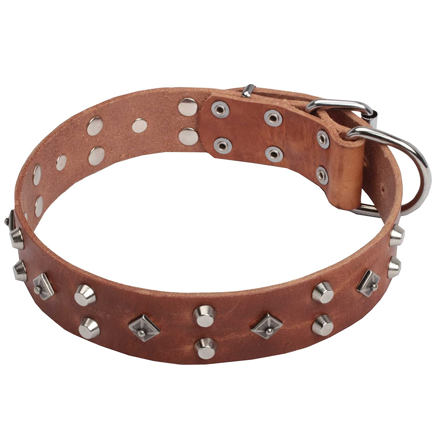 Tan fits for 22 inch dog's neck size Tan fits for 22 inch dog's neck size 22 inch Tan Leather Dog Collar 'Pyramid of Cheops' with Silver-like Decoration 1 1 2 inch (40 mm) wide