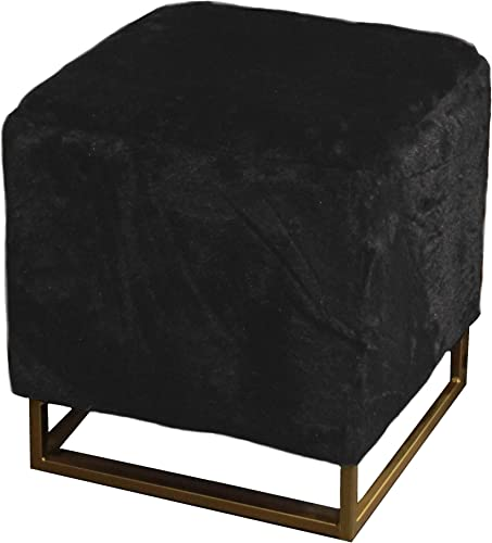 Design Guild Fur Legs Ottoman Beautiful Square Footrest w/Soft