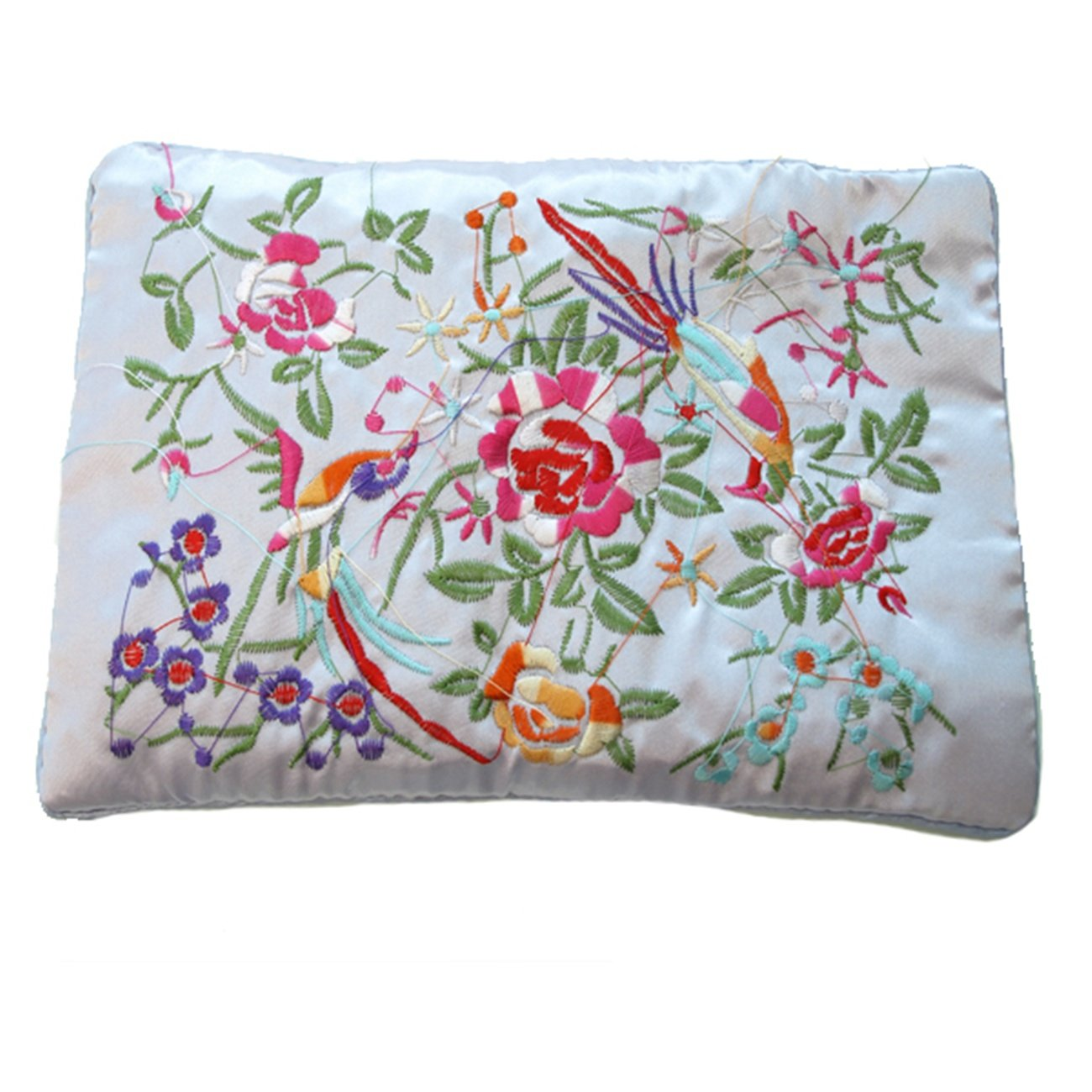 Wrapables Silk Embroidered Brocade Jewelry Travel Organizer Rolls, Lavender