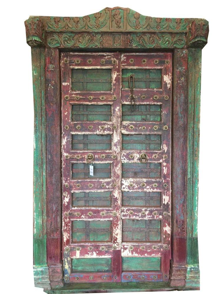 Mogulinterior Antique Doors India Krishna Hand Carved Teak Jaipur Architecture