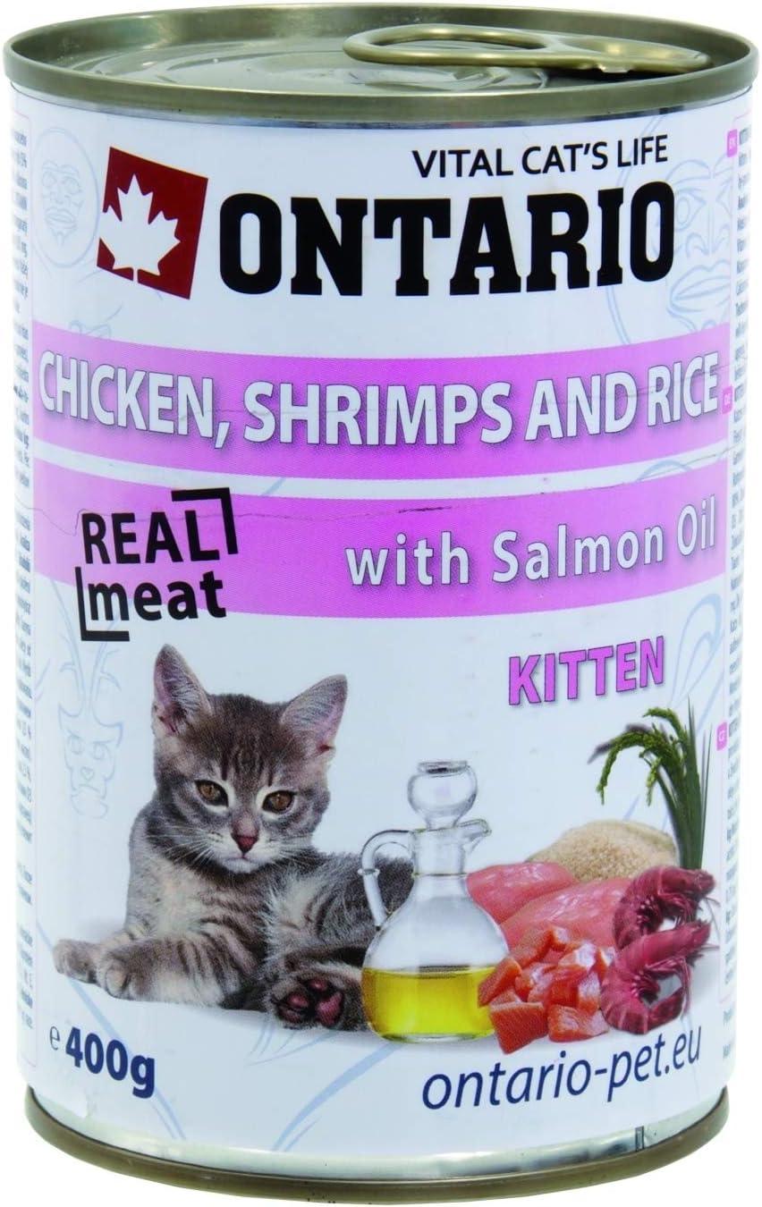 Ontario Kitten Alimento húmedo Gatitos Pollo, Camarones,Arroz y ...
