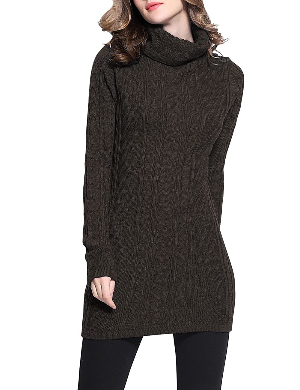 Rocorose Women's Turtleneck Long Sleeves Cable Knit Long Sweater 8018-