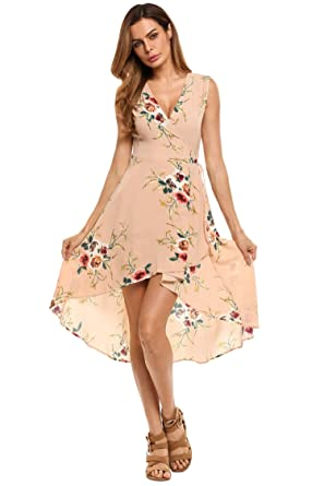 f21ea583c9e Hufcor Women s Sleeveless V Neck Floral Print High Low Lace Up Wrap Dress