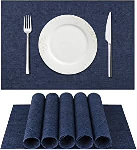 BETEAM Placemats, Heat-Resistant Placemats Stain Resistant Anti-Skid Washable PVC Table Mats Woven Vinyl Placemats, Set of 6 (Dark Blue)