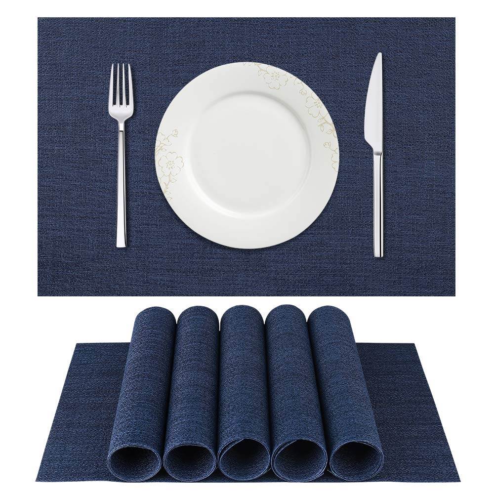 BETEAM Placemats, Heat-Resistant Placemats Stain Resistant Anti-Skid Washable PVC Table Mats Woven Vinyl Placemats, Set of 6 (Dark Blue) by BETEAM