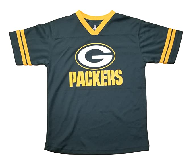 ab13afe5b Green Bay Packers Green NFL Youth Team Apparel V Neck Jersey (Medium 10 12