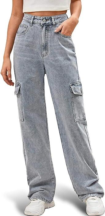 Amazon Com Ugerlov Pantalones Vaqueros Holgados Para Mujer Cintura Alta Cintura Alta Con Bolsillo Lateral Holgados Holgados Holgados Casuales Elasticos Anchos De Pierna Ancha Para Cargar Clothing